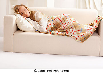 girl sleeping - beauty girl sleeping on the sofa