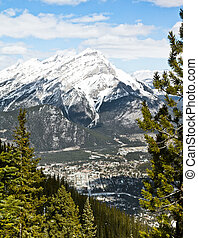 Banff at base of mountains - Banff town site, at the base of...