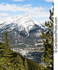 Banff at base of mountains
