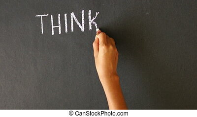 Thinking, Actions, Results - A person drawing a Thinking,...