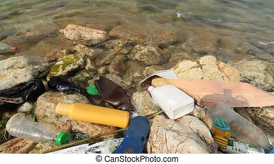 Garbage in sea water