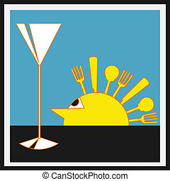 Sundowners Aperitifs, Vector background with a Deco style sun with cutlery rays and a cocktail glass