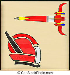 Retro Space Message, vector illustration with a rocket and a Spaceman Helmet