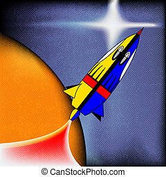 Retro Space Rocket, vector background with a comic-book spaceship
