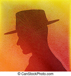 Hat Man, Vector texture background with male head in...