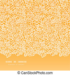Golden lace roses horizontal seamless pattern background -...
