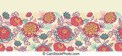 Peony flowers and leaves horizontal seamless pattern...