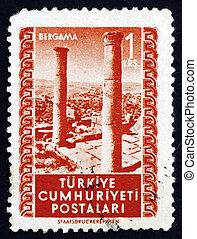 Postage stamp Turkey 1952 Ruins, Bergama - TURKEY - CIRCA...