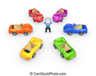 Colorful cars around 3d small person.Isolated on white...