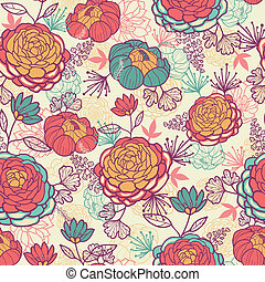Peony flowers and leaves seamless pattern background -...