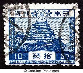 Postage stamp Japan 1926 Nagoya Castle - JAPAN - CIRCA 1926:...