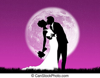 Weddings in the moon - Bride and groom kissing in the moon