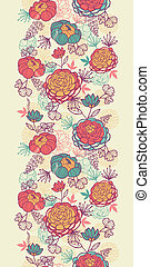 Peony flowers and leaves vertical seamless pattern...