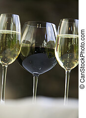 Red and white wine glasses. - Glasses of red and white...
