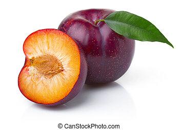 成熟, 紫色, 李子, 被隔离, 綠色, 水果, 離開