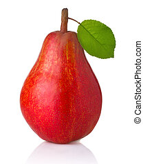 Ripe red pear fruit with green leaves isolated on white...
