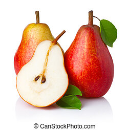 Ripe red pear fruits with green leaves isolated on white...