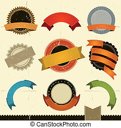 Grunge Banners, Awards And Ribbons - Illustration of a set...