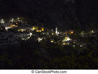 Esio town by night - This is a night view of little town...