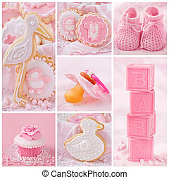 Baby girl collage - Collage with sweets and decoration for...