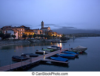 Feriolo - This is a night view of Feriolo on the Major Lake,...