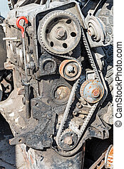 Old petrol engine - Worn out engine of gasoline with the...