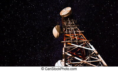 communication tower starry sky - communication tower under a...