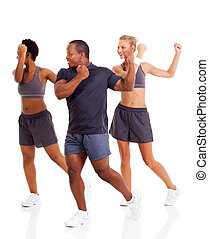 group of people doing aerobics exercise over white...