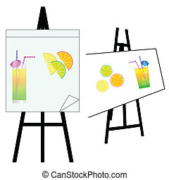 artist table with cocktail vector illustration