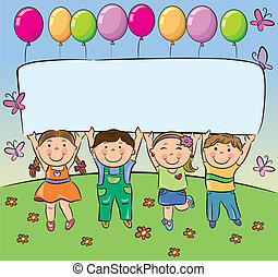 Summer children hold blank banner. Contains transparent...