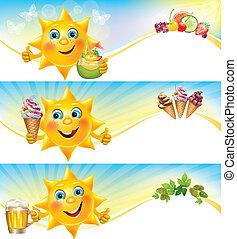 Fun sun with ice cream and cool drinks horizontal banners....