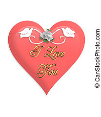 Valentines Day Pink Heart and Doves