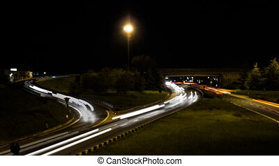 traffic highway at night - time lapse traffic highway at...