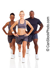 group of people exercising on white background
