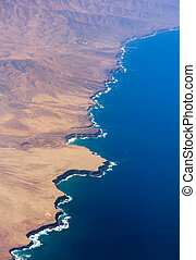 Fuerteventura, Canary Islands, eroded west coast from the...