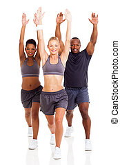 group of fitness people exercising isolated on white...