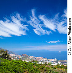 Northern Tenerife, view over Puerto de La Cruz towards La...