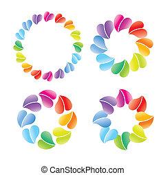logotipo, muitos, corações