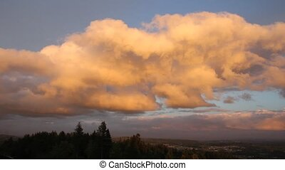 Clouds over Happy Valley in Oregon - Cumulus Clouds over...