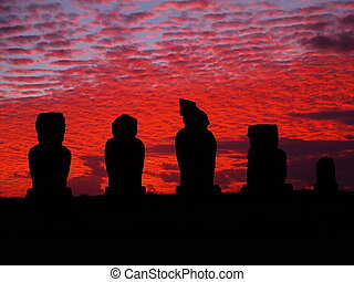 Moais on Easter Island - are monolithic human figures carved...