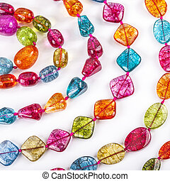 Color beads - assorted glass beads, on white