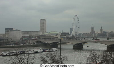 timelapse shots of the london eye and river thames