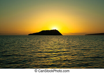 Sea of Cortez - Sunset at Espiritu Santo island in Baja...