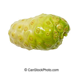 close up of fresh noni on white background