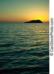 Sunset Sea of Cortez - Sunset at Espiritu Santo island in...