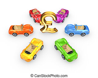 Colorful cars around sign of pound sterling.Isolated on...