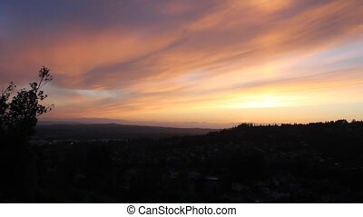 Sunset over Happy Valley Oregon - Colorful Sunset over Happy...