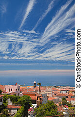 La Orotava, Tenerife, view over the rooftops to Puerto de la...