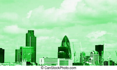 view of london skyline, including the swiss re building