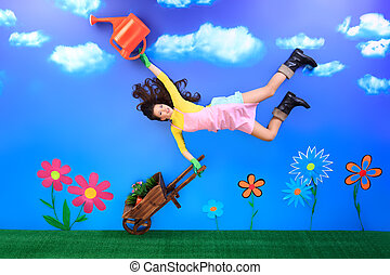 cartoon - Romantic young woman is growing fabulous flowers